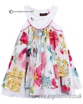 Catimini girls floral dress CJ31113 white