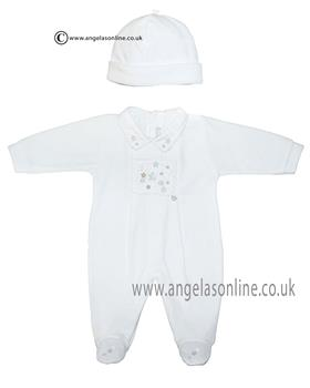 Co Co unisex babygrow and hat CCS5500 White