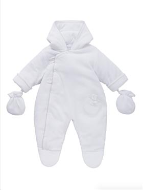 Co Co Baby Boys Snowsuit & Mittens A6014-17 White