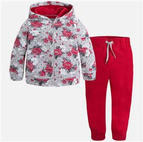 Mayoral girls floral hooded jogger 4813-17 Red
