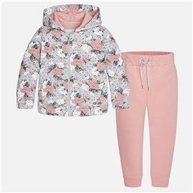 Mayoral girls floral hooded jogger 4813-17 Pink