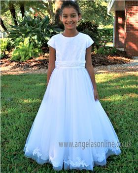 Sarah Louise girls communion dress 090030 White