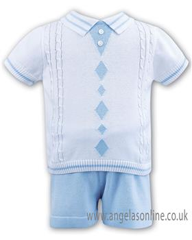 Dani boys white and pale blue knitted polo & shorts D09196