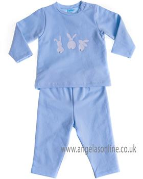 Sardon baby boys bunny rabbit jogsuit CO-420 Blue