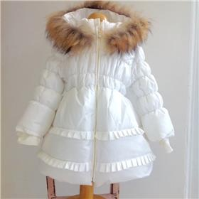 Bufi girls winter fur hooded coat B10733-18 Cream