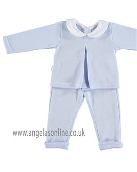Babidu Baby Boys Collared Two Piece 67165-18 BL