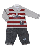 Pequilino baby boy 2 piece polo shirt set