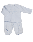 baby boy pale blue cord trouser 2 piece set