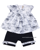 Emile et Rose Baby Girl navy and white 2 Pc Outfit Athena 6335nv