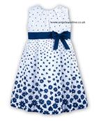 Sarah Louise Girls White/Navy Dress 8888