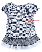 Sarah Louise Girls White/Navy Spotty Dress 8882