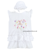 Sarah Louise Baby Girls White Bubble & Hat 8772