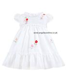 Sarah Louise Girls White Frill Dress 8817
