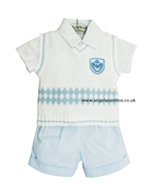 Little Darlings Boys White | Blue Outfit 2239