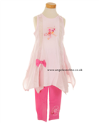 Deux par Deux Girls Pink Tunic Top with Leggings D76