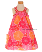 Deux par Deux Girls Pink & Orange Print Dress D92