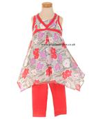 Deux par Deux Girls Floral Print Tunic with Leggings H75