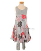 Deux par Deux Girls Floral Balloon Dress with Leggings H93
