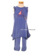 Deux par Deux Girls Blue Sailboat Tunic Top with Leggings D71