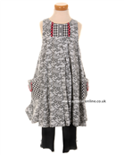 Deux par Deux Girls Lace Effect Dress with Black Leggings E95