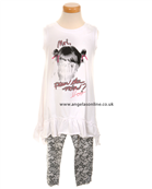 Deux par Deux Girls White Tunic Top with Lace Effect Leggings E75