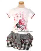 Deux par Deux Girls Floral T-Shirt | Checked Skirt E71
