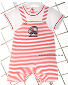 Tutto Piccolo Stripy Dungaree Effect Short Sleeved Romper 3291