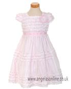 Kate Mack Girls Pink Ruffle Dress 196