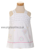 Sarah Louise Girls White Embroidered Dress D3055