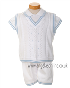 Pretty Originals Boys White & Blue 3Pc Knit Outfit 53185