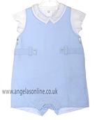 Laranjinha Baby Boy 2 pc - Blue Dungaree & White Shirt V3126