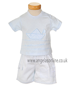 Valenri Baby Boys Pale Blue & White 2 Pc Outfit 2100