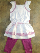 Mayoral Girls White & Purple Outfit | Tunic Dress & Leggings 3945