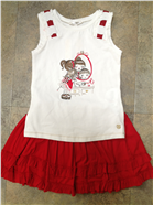 Mayoral Girls Outfit | T-Shirt & Red Frill Skirt 3043
