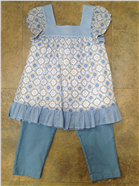 Mayoral Girls Outfit | Blue Floral Smock Top & Jeans 6172
