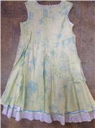 Little Darlings Girls Green Floral Frill Dress D9300