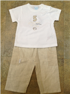 Valenri Baby Boys 2 Pc Beige Outfit 214029