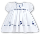 Sarah Louise Baby Girls Hand Smocked White/Navy Dress 8857
