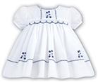 Sarah Louise Baby Girls Hand Smocked White/Navy Dress 8857