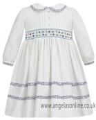Sarah Louise Baby Girls Ivory & Blue Hand Smocked Dress 9074