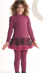 Kate Mack Girl Fuchsia Striped Top, Tutu Skirt & Leggings 625/627/628