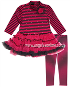 Kate Mack Girls Fuchsia Pink Striped Tutu Dress  620