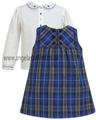 Sarah Louise Girls Royal Blue Tartan Pinafore & Blouse 9082 | 9122