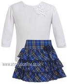 Sarah Louise Girls Ivory Sweater & Blue Tartan Skirt 969 | 9085