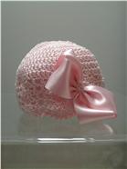 Emile et Rose pink crochet/bow hat. 123/1