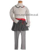 Deux par Deux Girls Spot/Stripes Top & Skirt with Leggings E74   E67