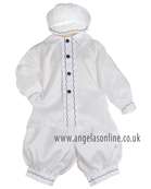 Pretty Originals Boys Silk White & Navy Blue Christening Outfit 123
