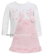 Dani Girls White Handbag Top & Pink Pinafore D4538 | D4539