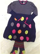 Deux par Deux Girls Navy Polka Dot/Stripe Dress & Tights CT94 | CC1