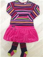 Deux par Deux Girls Striped Jersey Dress & Tights C91   CC1